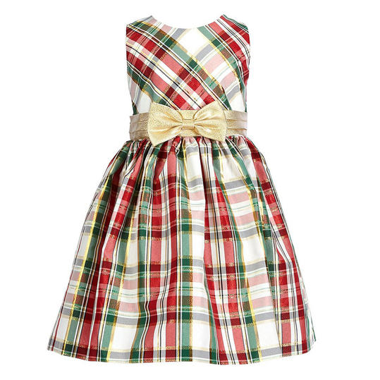 Plaid Taffeta Dress With Gold Bow