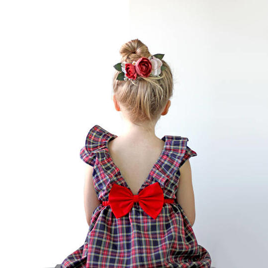 Plaid Holiday Dress With Bow in Back