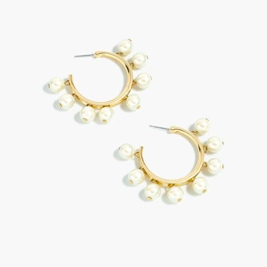Pearl-Drop Hoop Earrings