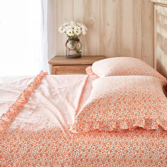 Calico Floral Ruffle Sheet Set