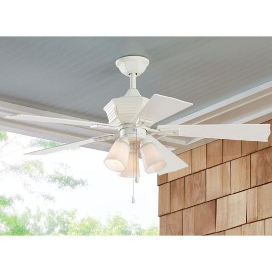 Indoor Outdoor Cottage Chic Distressed White Ceiling Fan