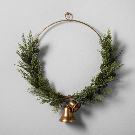 Artificial Juniper Wreath with Bell from Hearth and Hand