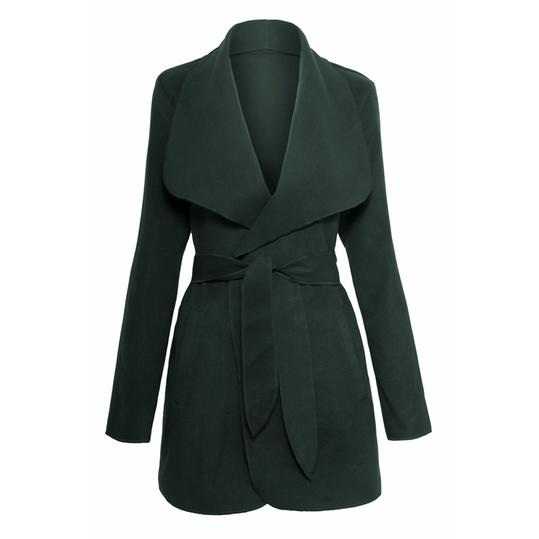 Drape Open Front Waterfall Belted Wrap Coat Jacket