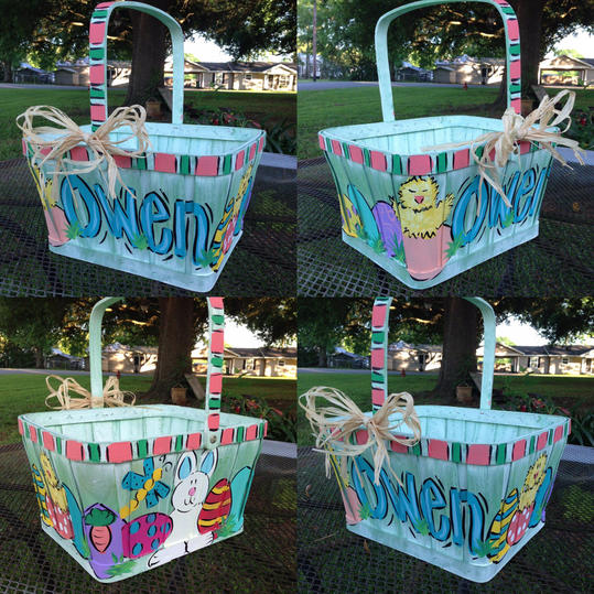 Handpainted Wooden Basket