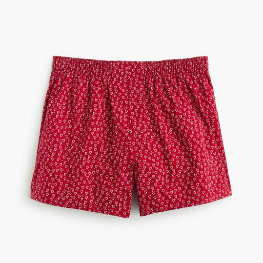Red Heart Print Boxers
