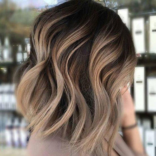 Blunt Ashy Brown Lob with Cool Blonde Balayage