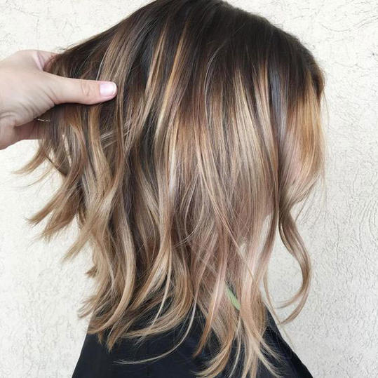 Choppy Brown Cut with Honey-Caramel Ombré Balayage