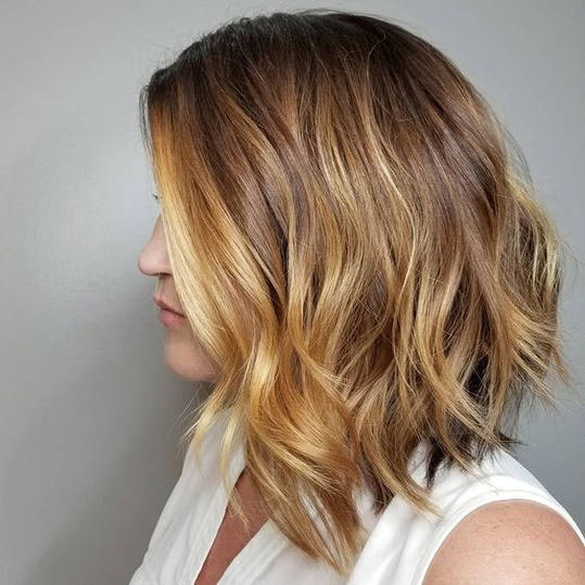 Warm Beige Blonde with Honey Balayage