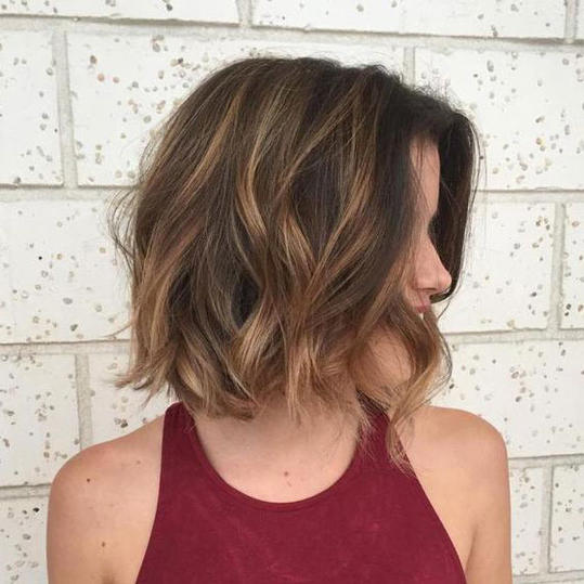 Medium Brown Bob with Caramel Balayage