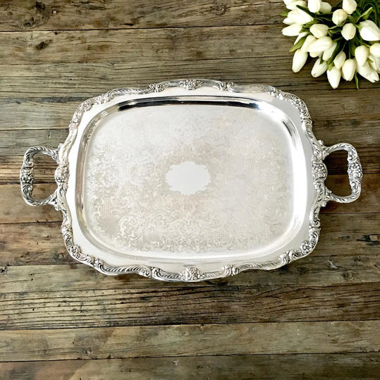 Footed Silver Plate Serving Tray