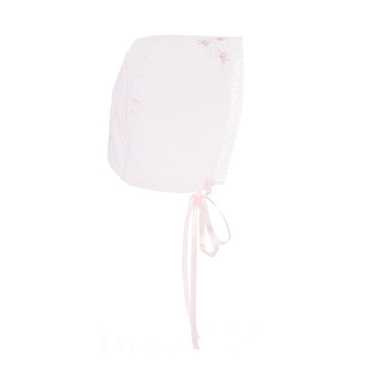 Pink Embroidered Bonnet with Lace Trim