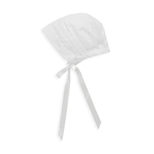 White Cotton Bonnet with Satin Ribbon