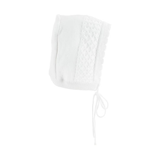 White Knit Bonnet with Scalloped Edge