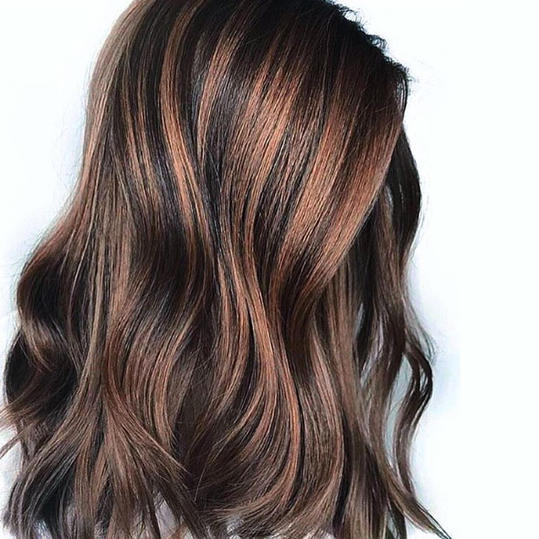 Dark Chocolate Brown With Bronze Balayage