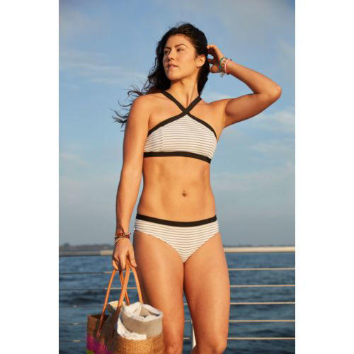 High Neck Cross Front Swim Top & Bottom in Caviar