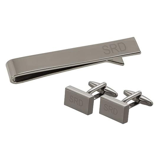 Monogrammed Groomsmen Cufflinks and Tie Clip Set