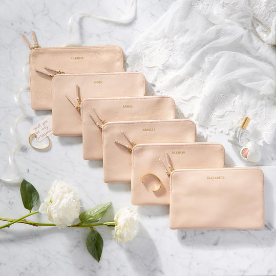 Monogrammed Leather Zip Pouch Bridesmaid Gift