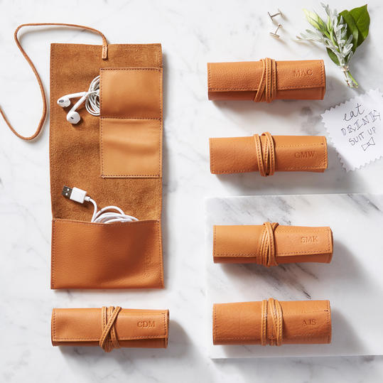 For the Guys: Leather Charger Roll Up