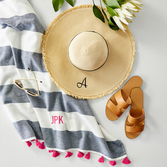 Monogrammed Honeymoon Hat and Towel