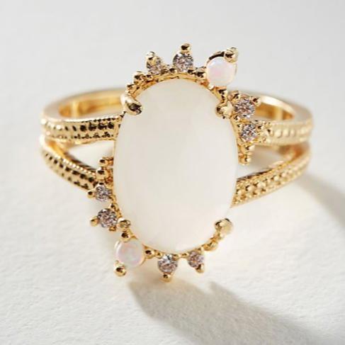 Elise M. Pyramid Drusy Quartz Adjustable Ring