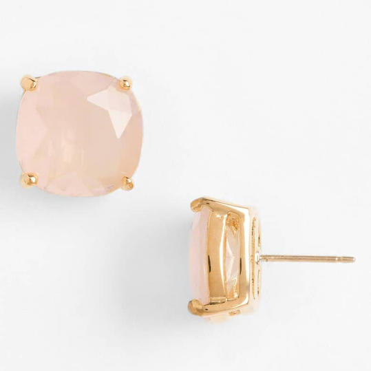 Gold-Wrapped Crystal Stud Earrings