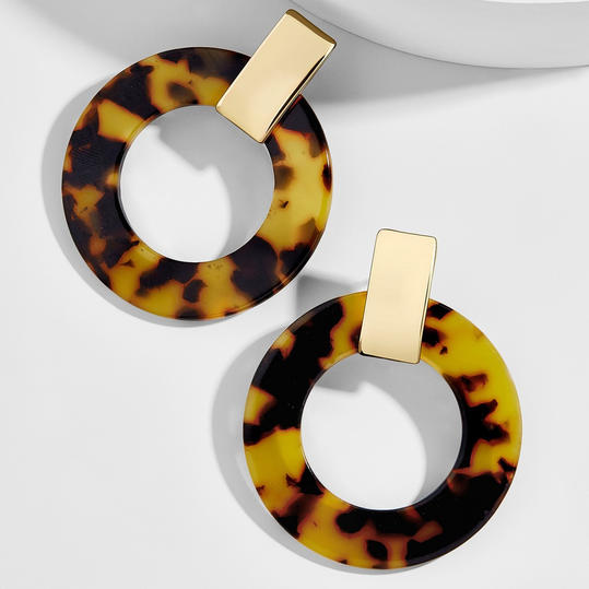 Tortoise and Gold Hoop Earrings