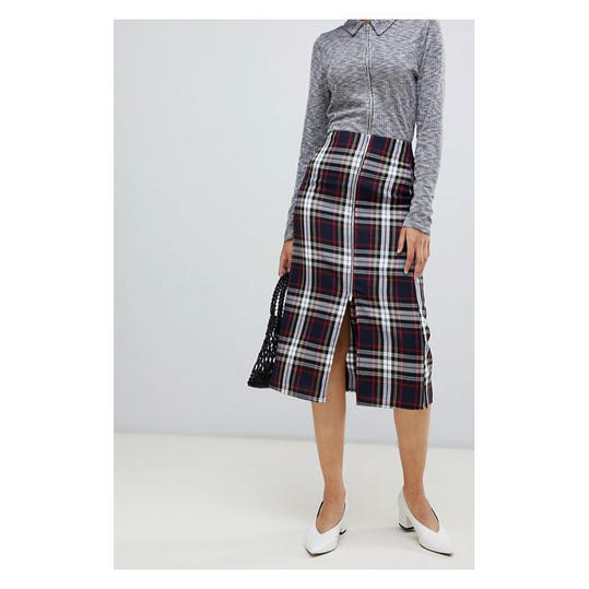 Midi Skirt in Plaid with Zipper Detail