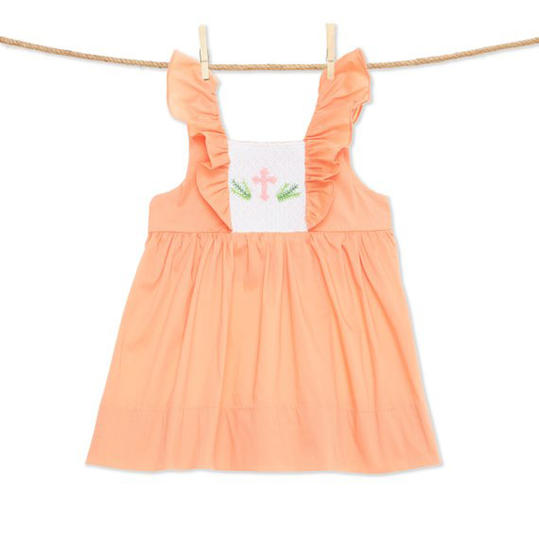 Green Smocked Colorful Cottontails Easter Bunny Dress