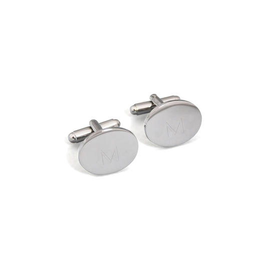 Cathy's Concepts Silver Monogram Oval Cuff Links