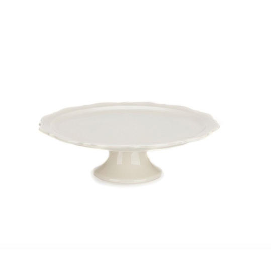 Cream Footed Cake Plate
