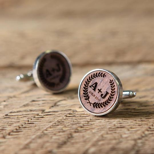 Engraved Maple or Walnut Cufflinks