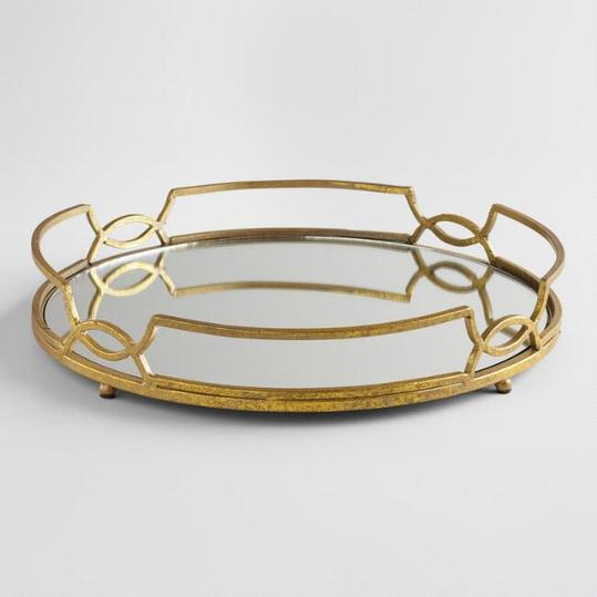 Gold Mirrored Tabletop Tray