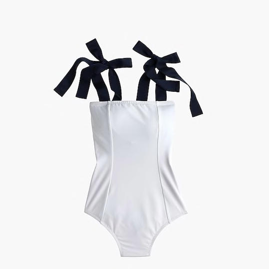 Grosgrain Tie-Shoulder One-Piece Swimsuit
