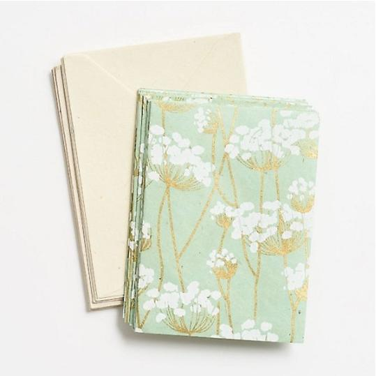 Paper Source White Blossoms on Mint Stationery Set