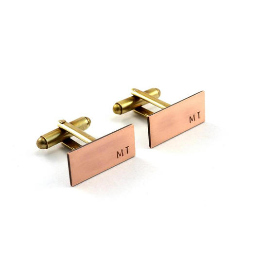 Rectangular Brass and Copper Monogram Cuff Links