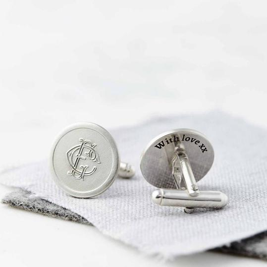 RX_1904_Best Personalized Cufflinks_Silver Personalized Monogram Cufflinks