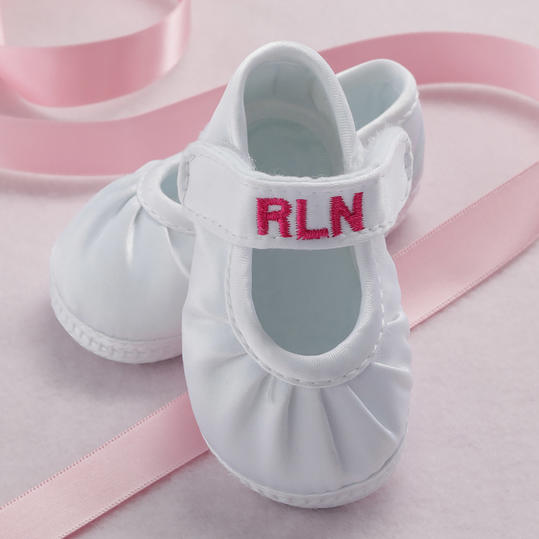 Personalized Mary Jane Satin Baby Shoes