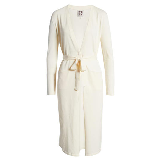 Long Belted Cardigan in Anne White