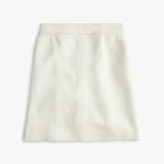 Princess Mini Skirt in Double-Serge Wool in Ivory