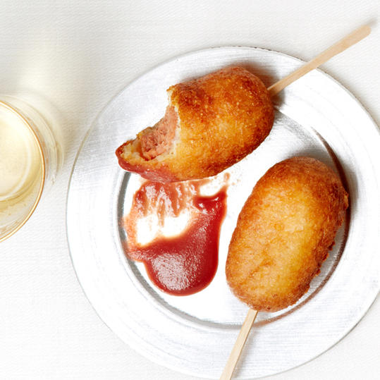 Mini Corn Dogs with Cranberry Mustard