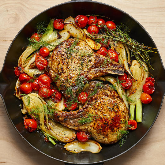 Pan-Seared Pork Chops with Roasted Fennel and Tomatoes image