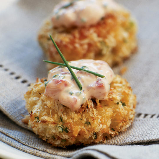 Panko-crusted Crab Cake Bites with Roasted Pepper-Chive Aioli
