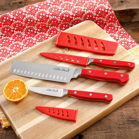 Cowboy Rustic 4-Piece Red Cutlery Set with Cutting Board