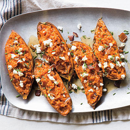 Twice-Baked Sweet Potatoes with Bacon and Goat Cheese