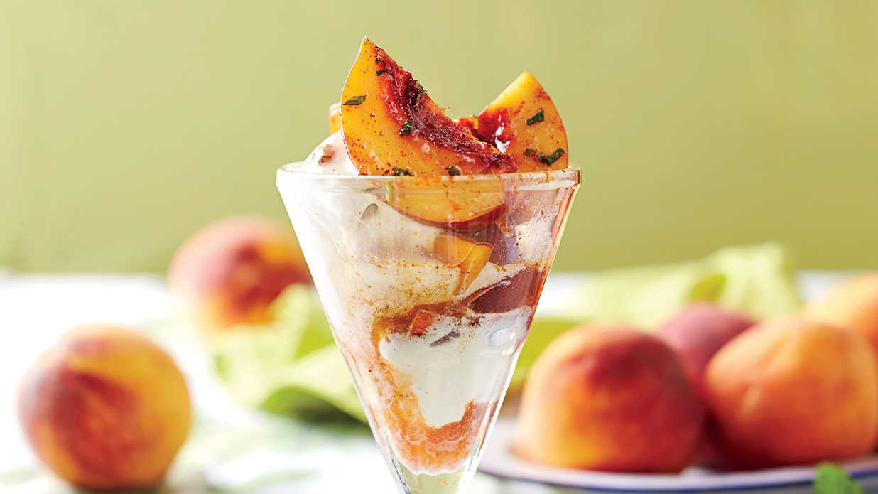 Macerated Peaches with Ancho-Cinnamon Sugar