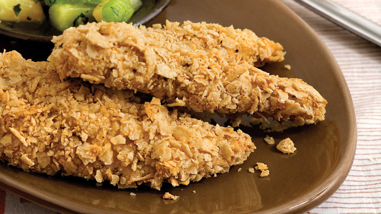 Kid-Friendly Chicken: Tortilla Chip-Crusted Chicken
