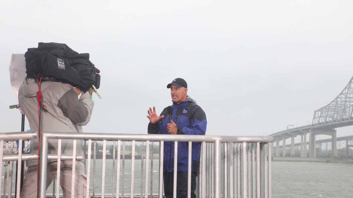 Jim Cantore Reporting in a Storm