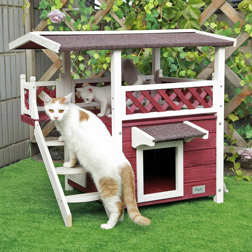 Your Cat Will Love This Two-Story Farmhouse-Style Playhouse