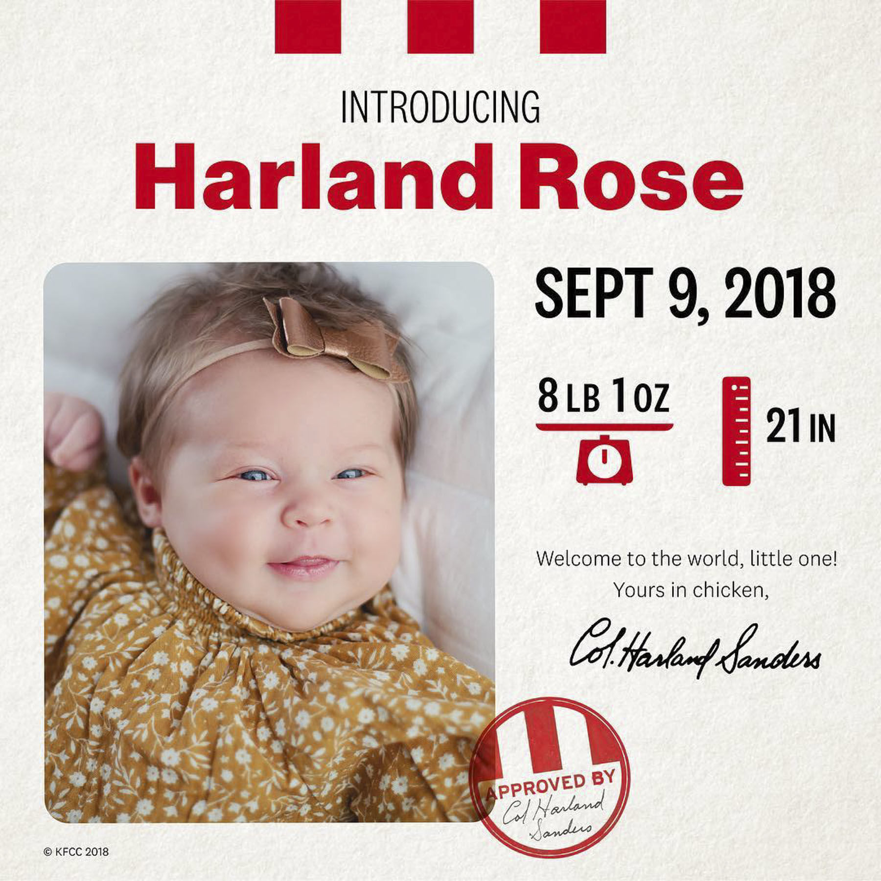 This Baby Won $11,000 from KFC Because Her Parents Named Her After Colonel Sanders