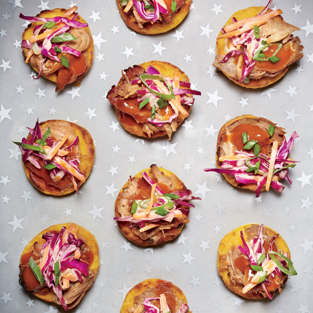 Petite Sweet Potato Biscuits with Pulled Pork and Slaw Recipe